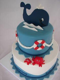 Nautical Birthday Cake - makes me think of the West Newton Whales Swimteam