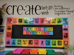 Art classroom decor - Inspiring Art Rooms Walls Can Teach – Art classroom decor Art Classroom Decor, Art Classroom Management, Classroom Organization, Classroom Signs, School Classroom, Classroom Ideas, Classroom Displays, Art Education Projects, School Art Projects