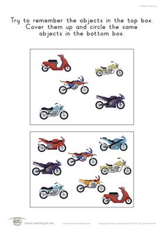 """In the """"5 Object Memory"""" worksheets, the student must remember all the objects in top box, in order to identify the the same objects in the bottom box from memory. Learning For Life, Visual Learning, Visual Memory, Worksheets, Student, Memories, Fun, Activities, Leaves"""