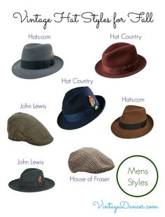 A selection of men s vintage inspired hat styles currently available for men.  1950s Mens Wear 671c1602fbb0