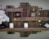 Items similar to Floating shelf sculpture wall display storage unit with mirror hearts on Etsy