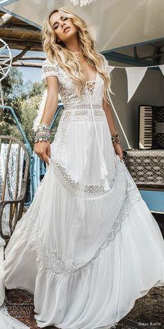 inbal raviv 2017 bridal sjprt sleeves deep v neck heavily embellished bodice bohemian soft a line wedding dress sweep train (sol) mv -- Inbal Raviv 2017 Wedding Dresses