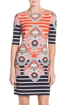 Eliza J Print Jersey Sheath Dress (Regular & Petite) available at #Nordstrom