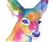 Colorful Doe Abstract Watercolor - Print - Companion Piece to Buck - Painting - Trendy - Decor -Deer