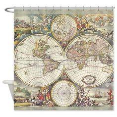Antique Frederic de Wit  Shower Curtain -  Vintage map -Home Decor - Bathroom - maps