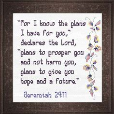 Plans of Hope - Jeremiah Quick Stitch Promises - Small Inspirational Cross Stitch Designs