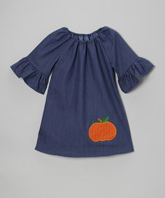 Denim Pumpkin Peasant Dress - Infant, Toddler & Girls...need to find a peasant dress pattern.