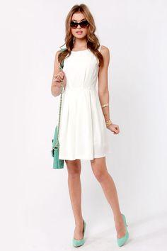 Classic Ivory Dress - Sleeveless Dress - Skater Dress - $56.00