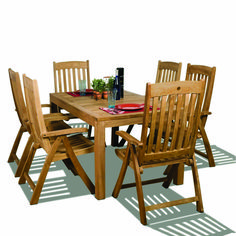 Transform your patio into a trendy dining space with this Bucarest teak rectangular patio dining set. This outdoor seating set includes 1 rectangular patio table and 6 folding position chairs. Assembly is required only for the table. Cheap Dining Room Sets, Diy Dining Room Table, Outdoor Dining Set, Patio Dining, Patio Table, Outdoor Seating, Wood Patio, Dining Sets, Outdoor Living
