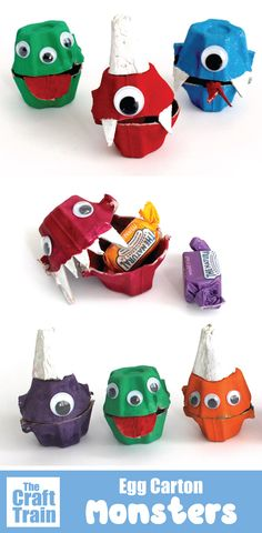 Cute and easy monster treat holders kids can make. This is a fun recycling craft which can be given as a hand made gift idea for Halloween Paper Crafts For Kids, Easy Crafts For Kids, Kid Crafts, Montessori Activities, Craft Activities For Kids, Craft Ideas, Dragons, Monster Treats, Egg Carton Crafts