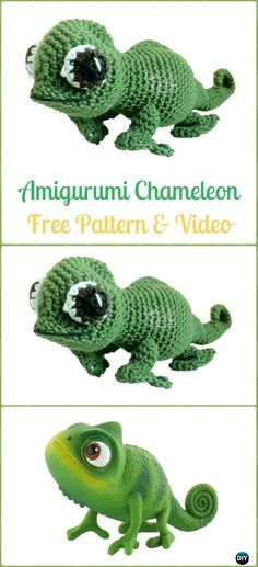 Crochet Amigurumi Chameleon Free Pattern&Video - Crochet Chameleon Amigurumi Softies Toy Patterns