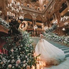 Rule like a Queen - the outstanding hand embroidered makes you feel like royalty with custom made florals Image: Wedding Goals, Our Wedding, Wedding Venues, Wedding Planning, Paris Wedding, Wedding Castle, French Wedding, Wedding Places, Royalty Wedding Theme