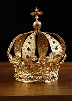 French Antique Crown with Crystal Jewels, circa 1840