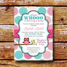 Baby Shower Invitation Owl Shower par MermaidMonkeyDesigns sur Etsy