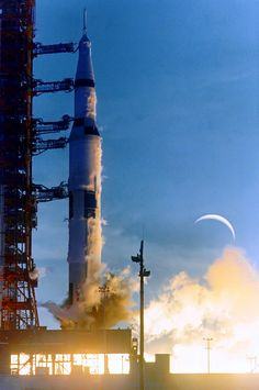 Apollo 8 Saturn V builds thrust after ignition of the S-IC first stage F-1 engines, December 21 1968
