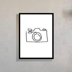 Camera Drawing, Camera Art, Flower Art Drawing, Line Drawing, Minimalist Poster Design, Minimal Poster, Simple Wall Art, Photographer Gifts, Abstract Line Art