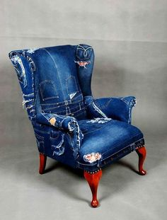 Upholstered old chair with jean