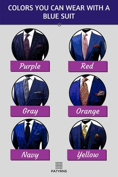 If you're unsure what colors you can wear with a blue suit, check this out. Blue suits are very versatile!