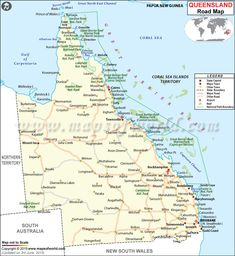 Road #Map of #Queensland showing all the major roads and highways in the state   #Australia