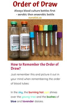 How to remember the order of draw - guide and memory aid for nurses, phlebotomist / s and laboratory assistants Nursing Labs, Nursing Student Tips, College Nursing, Nursing School Notes, Icu Nursing, Nursing Students, Nursing Schools, Nursing Assessment, Nursing Mnemonics