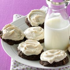 Frosted Chocolate Delights Recipe -Before we five kids headed off to school each day, Mom took our requests for that day's dinner. I usually asked her to make these cookies for dessert, and she would rarely disappoint. I still enjoy them today. —Patricia Ramczyk, Appleton, Wisconsin