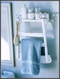 Transform a Chair into a Towel Rack and Shelf
