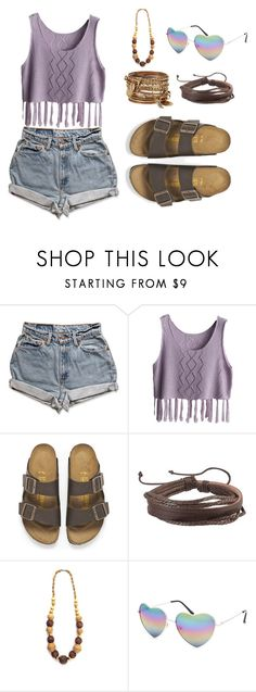"""""""What's So Simple In The Moonlight, By The Morning Never Is"""" by kindella ❤ liked on Polyvore featuring Levi's, Birkenstock, Zodaca, Full Tilt and ALDO"""