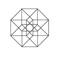 tesseract geometric drawing