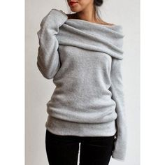 $18.95 Elegant Gray Slash Collar Long Sleeve Pullover Knitwear For Women