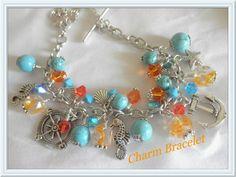 Turquoise and Orange Sea Charm Bracelet    jnldesigns - Jewelry on ArtFire