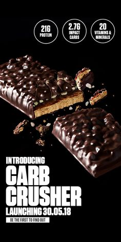 Buy our Carb Crusher for a delicious low sugar protein bar, available in 3 indulgent flavours. It's the ultimate high protein snack. Low Sugar Protein Bars, High Protein Snacks, Healthy Snacks, Saturated Fat, Vitamins And Minerals, How To Find Out, Sweet Tooth, Vegetarian, Chocolate