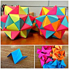 Picture of Post-It Origami Icosahedron