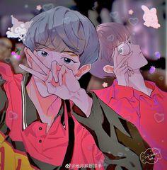 Baekhyun Fanart, Chanbaek Fanart, Exo Chanbaek, Exo Fan Art, Korean Boys Ulzzang, Sketch Inspiration, Park Chanyeol, Writing Ideas, Polaroid