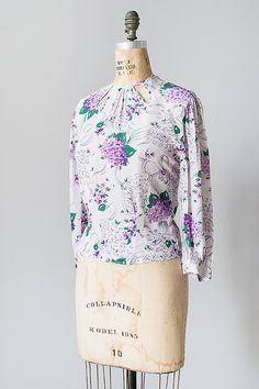 vintage 1930s lilac print long sleeve blouse - Click Image to Close