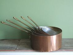 Copper Saucepans // French Vintage Tinned by VintageRetroOddities