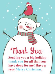 Holiday Snowman Christmas Thank You Card Birthday Greeting Cards By Davia