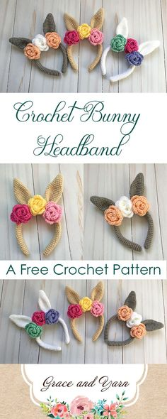 Free Crochet Bunny Headband Pattern - with ears and flowers for trim - cute little girl's Easter idea!