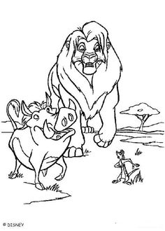 SimbaTimon And Pumbaa Walking The Pride Lands Coloring Page