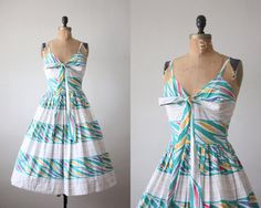 1950's dress  vintage bird feather party dress by Thrush on Etsy, $139.00