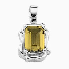 Platinum Emerald Cut Citrine Pendant Gems-is-Me. $595.09. FREE PRIORITY SHIPPING. This item will be gift wrapped in a beautiful gift bag. In addition, a 'gift message' can be added.