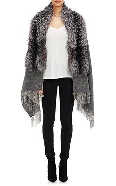 Barneys New York Fox Fur-Collar Cape | Barneys New York
