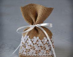 Rustic Wedding Favor Bag, Thank you Bag, Burlap Lace Gift Bag, Candy Bags - SET OF 100