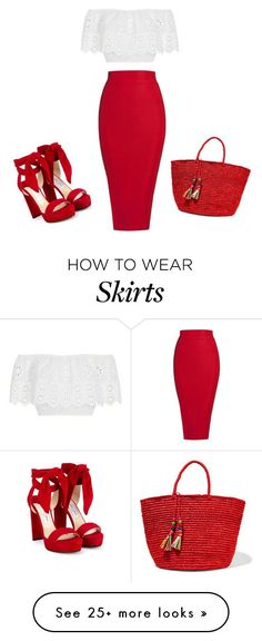 """Red Skirt"" by satpal-sarita on Polyvore featuring Miguelina, Jimmy Choo, Sensi Studio and Posh Girl"