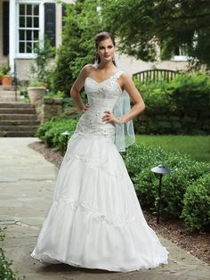 One shoulder ball gown organza bridal gown