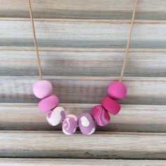 Polymer clay necklace pink and mauve necklace by rubybluejewels