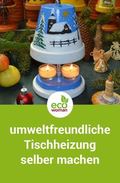 Tischheizung mit Teelichtern selber machen Why not just build an environmentally friendly candle heater yourself? With this tealight oven you can save costs and energy and create a homely feel-good atmosphere. Clay Pot Crafts, Diy And Crafts, Candle Heater, Dollar Tree Gifts, Air Dry Clay, Terracotta Pots, Clay Pots, Wooden Diy, Flower Pots