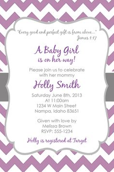 PURPLE & GREY CHEVRON Baby Shower Invitation by kayleighskreations, $10.00
