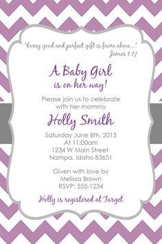 purple u0026 grey chevron birthday partybaby shower invitation 4x6 digital file