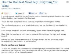 How To Manifest Absolutely Everything You Want