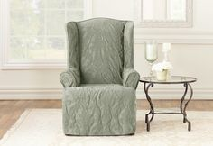 Sure Fit Slipcovers; Matelasse Damask Wing Chair Slipcover in Sage